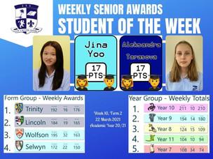 22 March 2021: Weekly Senior Awards