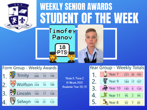 15 March 2021: Weekly Senior Awards