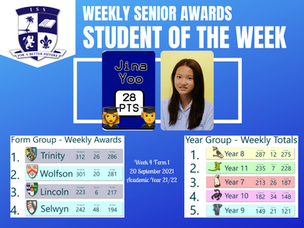20 September 2021: Weekly Senior Awards