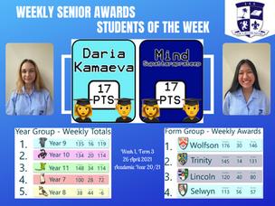 26 April 2021: Weekly Senior Awards