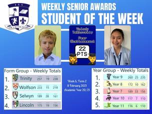 8 February 2021: Weekly Senior Awards