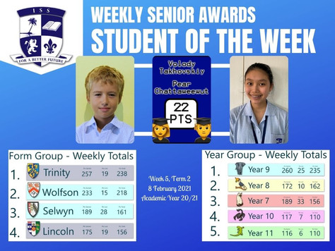 8 February 2021: Weekly Senior Awards