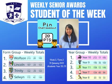 19 January 2021: Weekly Senior Awards