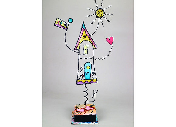 Two Hearts, One Home wire sculpture by JP, wire art by James Paterson, wire house with sun and hearts