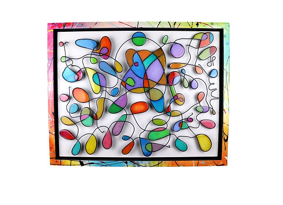 Colorful wire sculpture loop wall piece by JP, wire sculpture by James Paterson