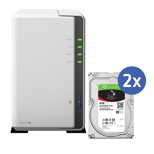 Synology DS218J inkl. 2x 4TB Seagate IronWolf Pro