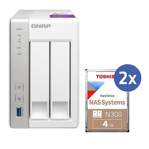 QNAP TS231-P2 inkl. 2x 4TB Toshiba N300