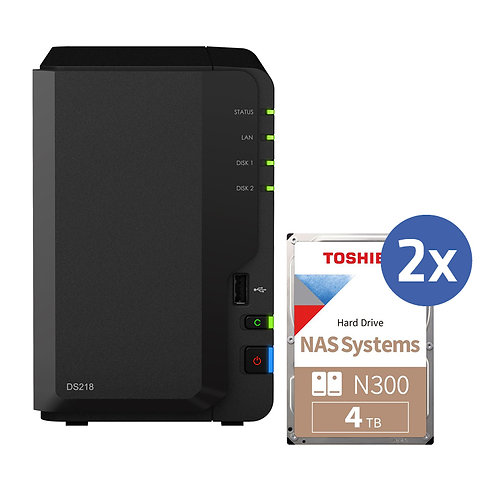 Synology DS218 inkl. 2x 4TB Toshiba N300