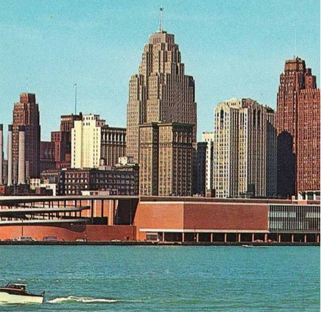 Pictured with the spiral car ramp, Detroit's Cobo Center played host to the 1971 AIA National Convention, during which 12 African American designers founded NOMA. (Hiawatha Postcards)