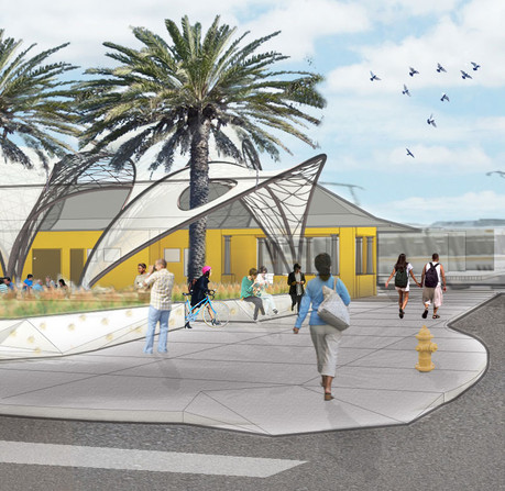 """With the """"Watts: Our Town"""" project, Lewis partnered with residents and leaders of the Los Angeles neighborhood to design a visitor center and art-oriented walkways."""