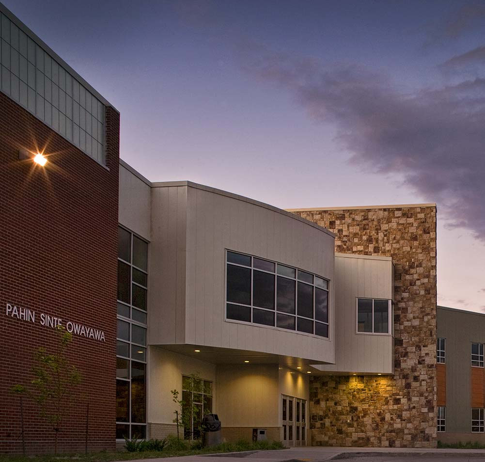 Eagle Bull designed the Pahin Sinte Owayawa (Porcupine School) for the Oglala Lakota Sioux Tribe. Located in Porcupine, SD on the Pine Ridge Indian Reservation the elementary and middle school was built for $13 million and stretches across approximately 72,000 square feet. (Courtesy of the architect)