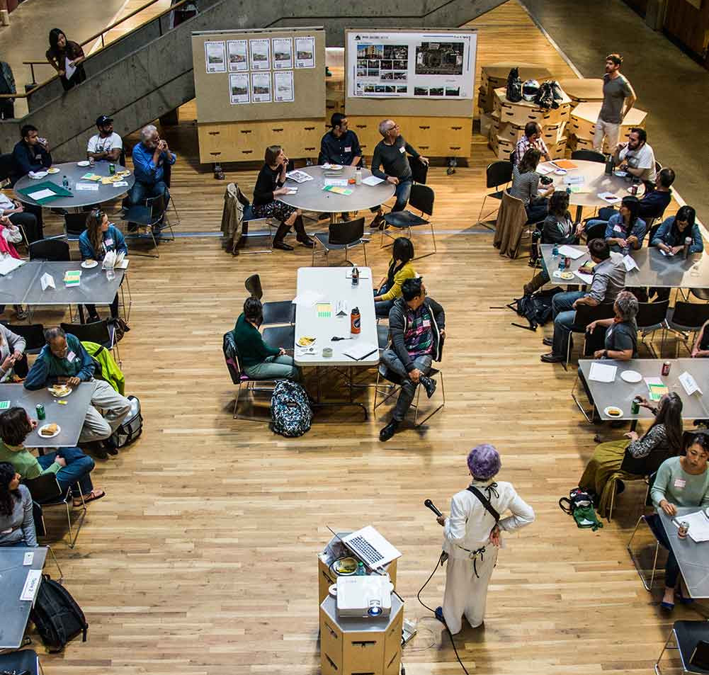 Sutton, center, leads a public design session at the University of Washington. (Courtesy of the architect)