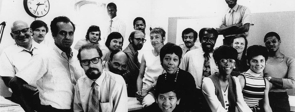 Coles poses with staff at this Buffalo firm in 1972. (Courtesy of the architect)