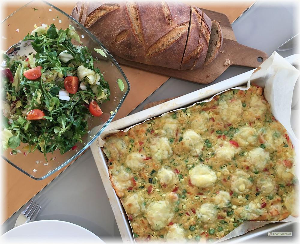 Erdäpfelpufferpizza Salat