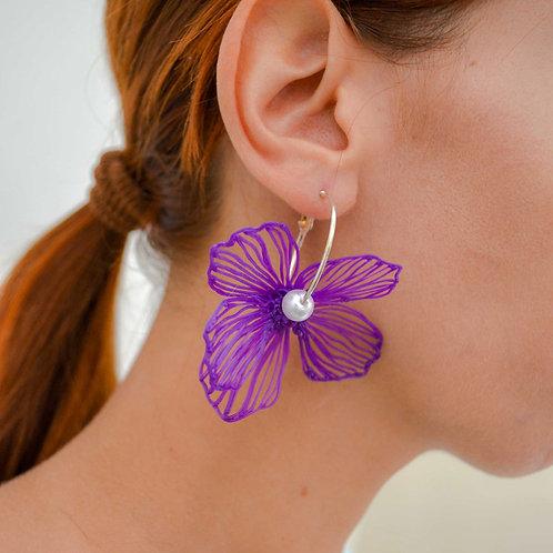 Gaia Earrings Large - Purple White