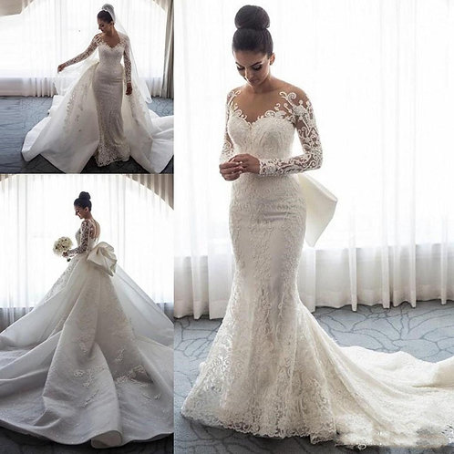 Luxury Mermaid Gown Long Sleeves Illusion Full Lace Applique Bow Overskirts