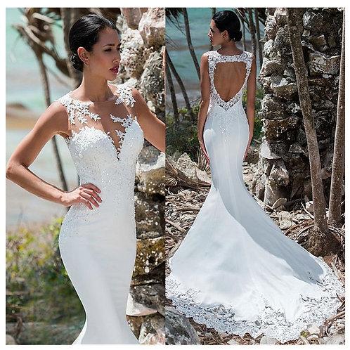 Sexy Mermaid Sleeveless Lace Appliqued Illusion Back & Long Train Bride Dress