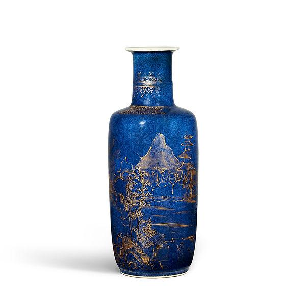 Kangxi Powder Blue Porcelain Rouleau Vase