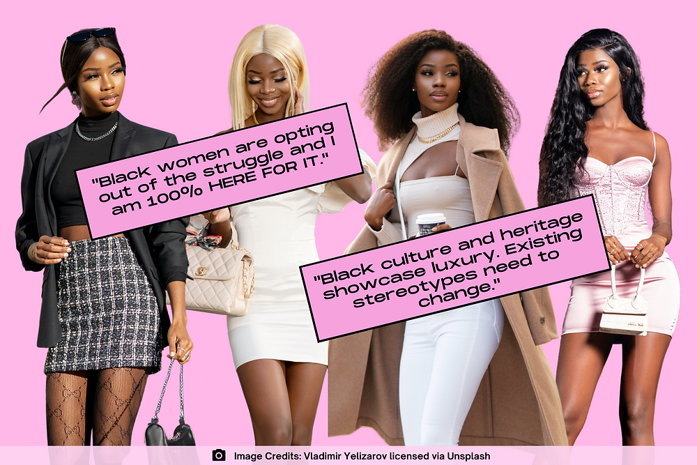 Collage of Black woman wearing luxury clothing items