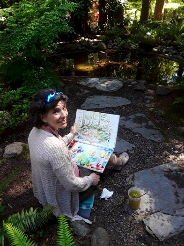 Painting en plein air at Big Rock Garden