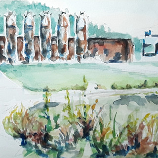 """Waypoint Park, 20"""" x 8"""", watercolor, fra"""