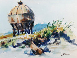 "Acid Ball at Waypoint Park, watercolor, 12""x9"" framed, $152"