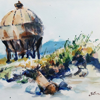 """Acid Ball at Waypoint Park, watercolor, 12""""x9"""" framed, $152"""