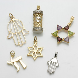 14k gold Judaica Pendants