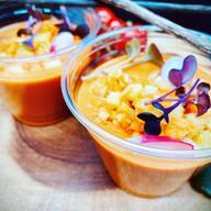 Gaspacho de tomates rôti aux miel