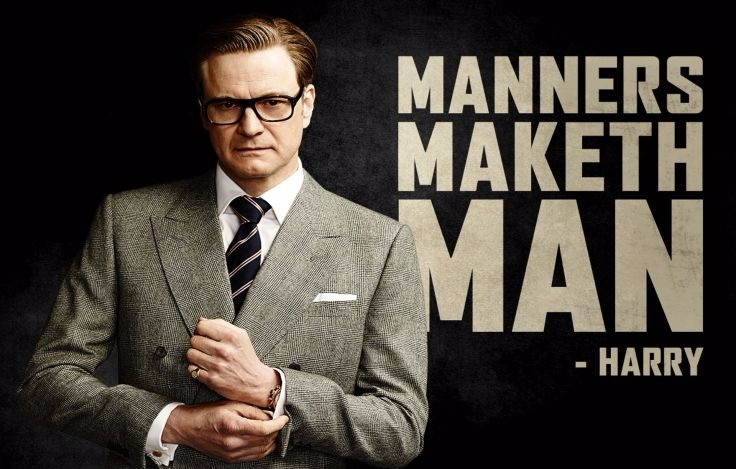 "Harry from ""Kingsman"" with quote: ""Manners Maketh Man"""