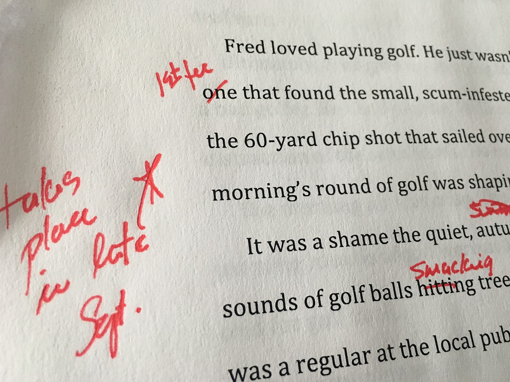 Red pen editing the 2nd Adam Parker book