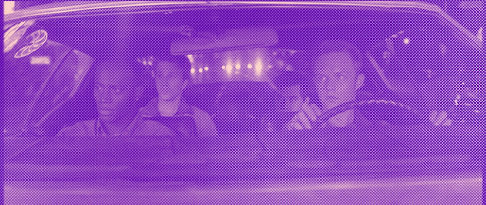 "Four young men in a car from the 1999 movie ""Go"""