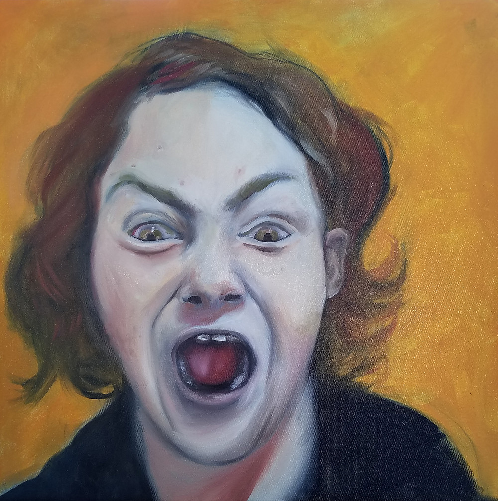"""Hazel scream"" oil on canvas 20""x20"""