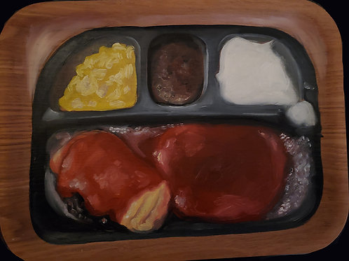 Eggplant Parm TV Dinner Painting