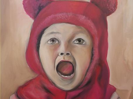 """Amelia Scream"" painting at SFPL show"