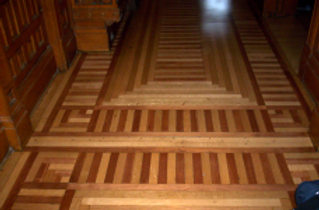 Refinished parquet hardwood floor done by  LaPlame Hardwood Floors