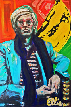 Portrait of Andy Warhol with a banan