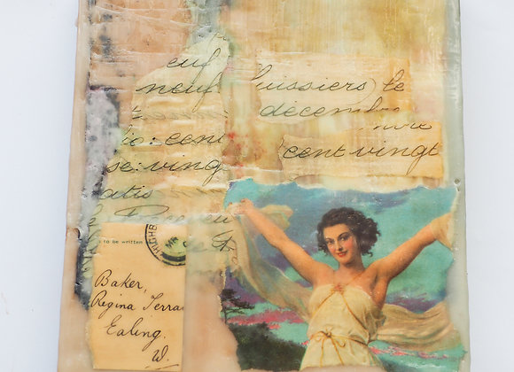 Vintage cards & French documents- encaustic collage