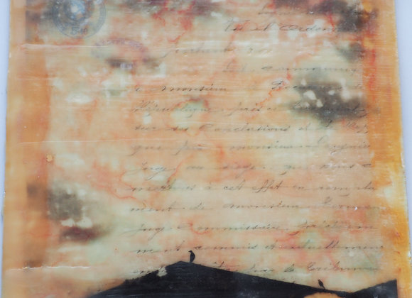 Grove Street rooftops - encaustic photography