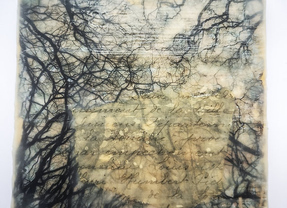 Cowdray treetops - encaustic photography collage
