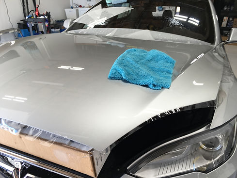 Tesla S70D in for max paint protection, full frontal wrap with NanoFusion Clear bra