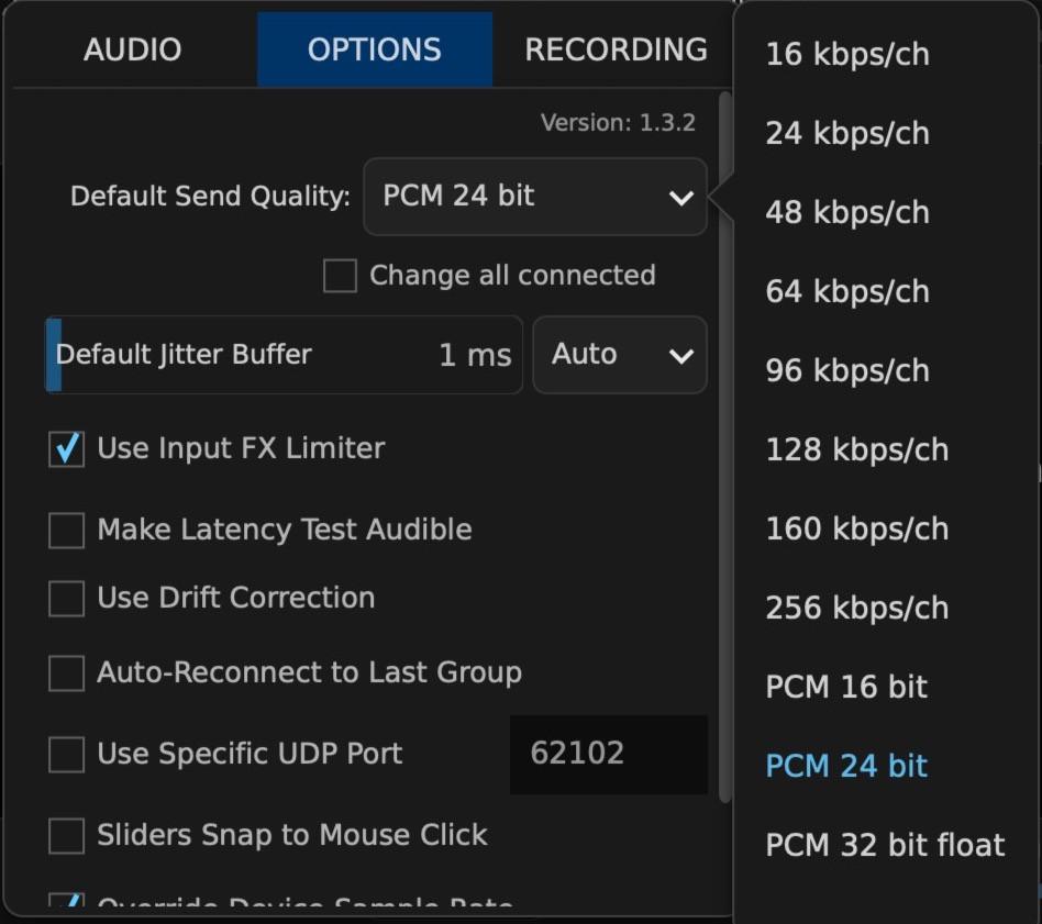 How to setup SonoBus: Audio Quality