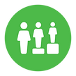 green circle with three people on steps making them the same height