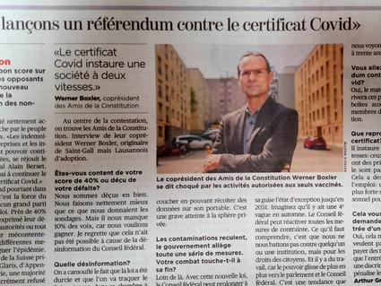 Les Amis de la Constitution s'engagent aussi contre le certificat sanitaire !
