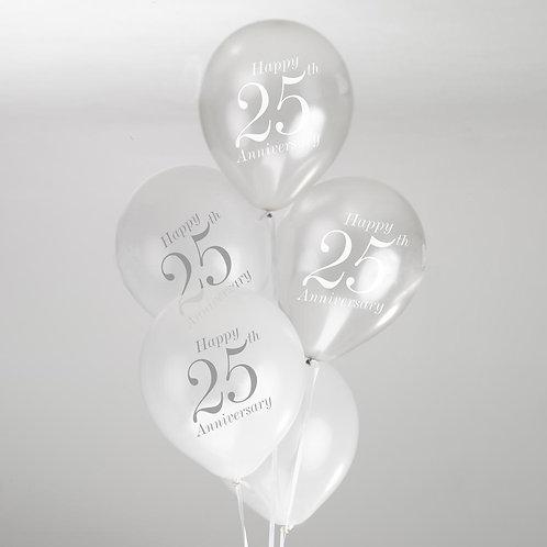 Vintage Romance - 25th Anniversary Balloons - White/Silver