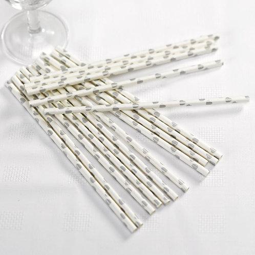 Vintage Romance - Paper Straws - White/Silver Hearts