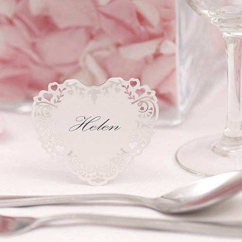 Vintage Romance - Free Standing Laser Cut Place Cards - White