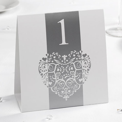 Vintage Romance - Table Numbers - White/Silver 1 to 12
