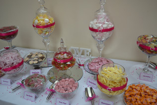 Glassware and sweets display