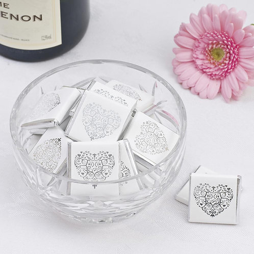 Vintage Romance Chocolate Squares - White & Silver